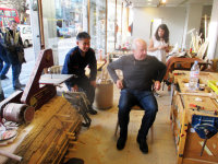 Heal's Chairman Will Hobhouse tries Koji's chair