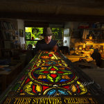 Stained Glass Window maker Repairing Cornish church window