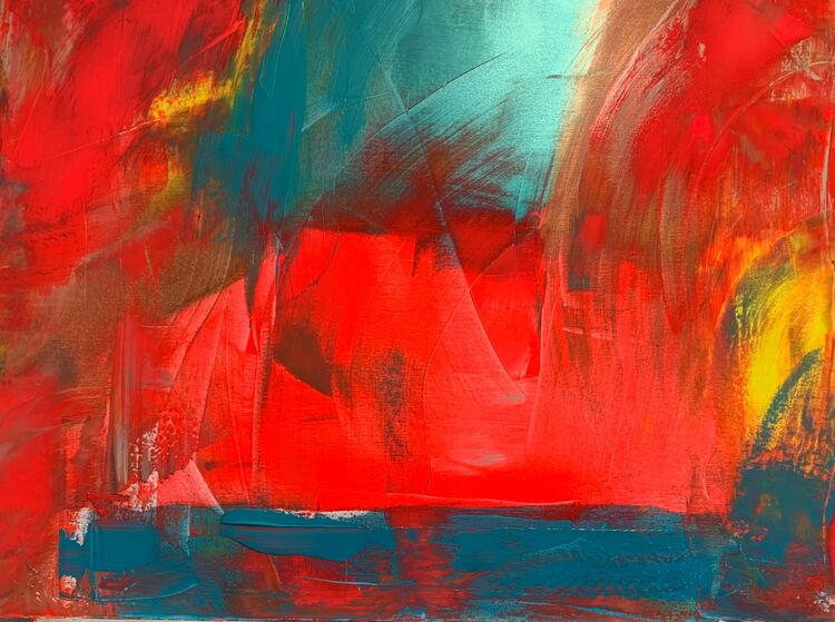 Red turquoise abstract