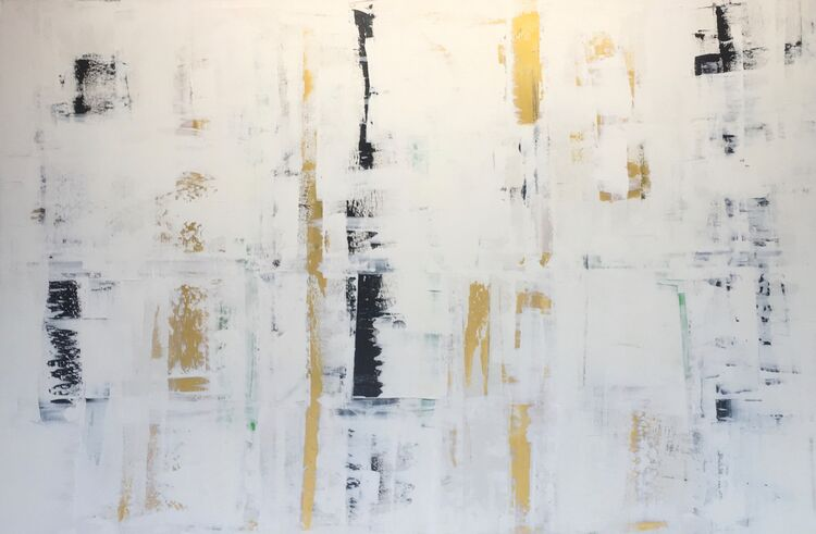 Black, White and Gold Abstract