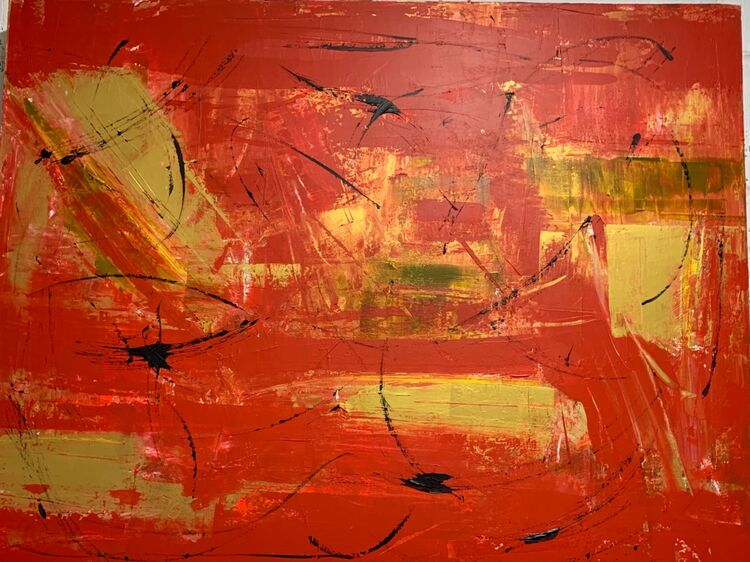 Black Gold & Red Abstract