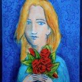 GIRL ON BLUE