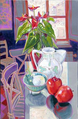Anthurium and Green Jugs, May 2011, 60x40 cm SOLD
