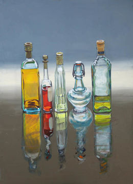 CHRISTINE WEBB 5 Bottles, Extra Virgin on the Right, 50x70cm