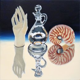 CHRISTINE WEBB Assymetrical Senses, Touch, Taste, Listen 30x30cm