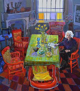 SOLD Back Off Chrissie, Nancy at Table 122x137 cm