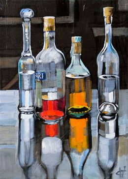 CHRISTINE WEBB Bottles Campari with Friends Branca 35X25cm SOLD