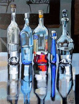 CHRISTINE WEBB Bottles Campari with Friends II 40x30cm SOLD