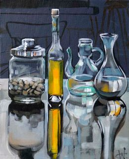 CHRISTINE WEBB Bottles Pistachios with Bottles 30x24cm SOLD