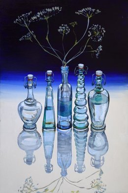 CHRISTINE WEBB Bottles with Wildflowers 60x40 cm