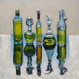 CHRISTINE WEBB Five Extra Virgins, 60x60cm