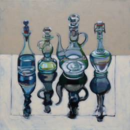 CHRISTINE WEBB Four Italian Oil Bottles, 60x60cm