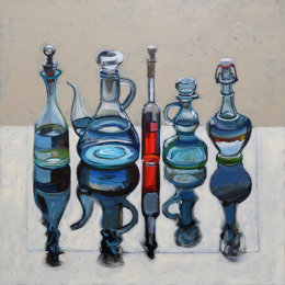 CHRISTINE WEBB Four Plus One Red, 60x60cm SOLD