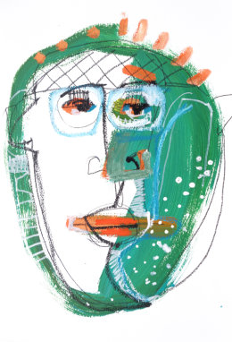 CHRISTINE WEBB Green Face 1, A3, Mixed Media on Paper