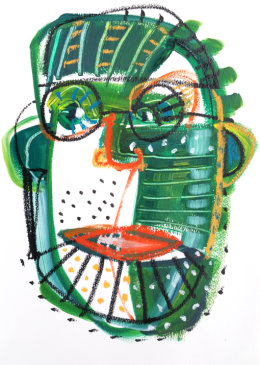 CHRISTINE WEBB Green Face 2, A3, Mixed Media on Paper