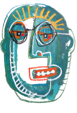 CHRISTINE WEBB Green Face 3, A3, Mixed Media on Paper