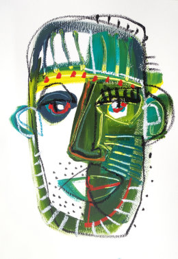 CHRISTINE WEBB Green Face 4, A3, Mixed Media on Paper