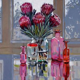 CHRISTINE WEBB Liquid Proteas at Home, 60x60cm, acrylic on canvas SOLD