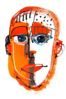 CHRISTINE WEBB Orange Face 1, A3, Mixed Media on Paper