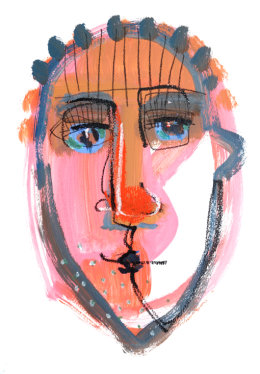 CHRISTINE WEBB Orange Face 2, A3, Mixed Media on Paper