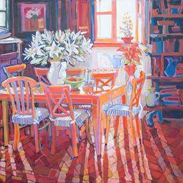 SOLD Sansepolcro Morning Sun, 80x80cm, Acrylic on Canvas, 2014 e