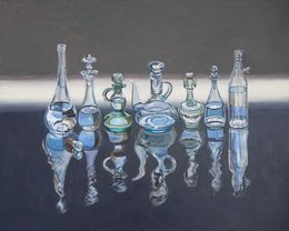 Six Italian Oil Bottles and One Grappa, 80x120 cm