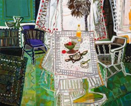 CHRISTINE WEBB Summer Table, Braque Fugue Revisited, 122x152cm SOLD