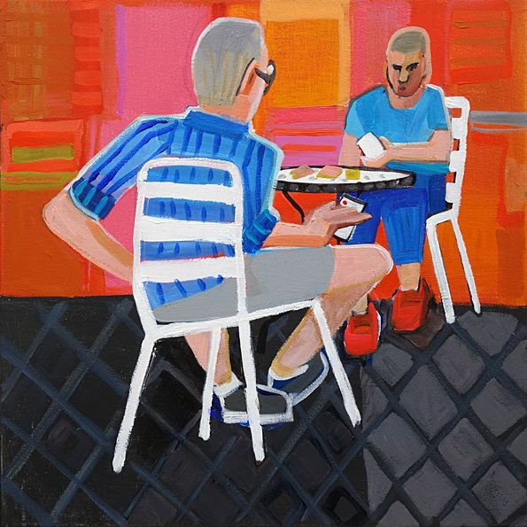 CHRISTINE WEBB Two Cardplayers 45x45cm