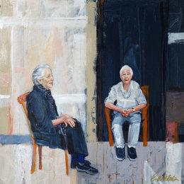 CHRISTINE WEBB Visiting Elisabeth, Portrait of Elisabeth Cummings and Robin Lawrence 60x60cm
