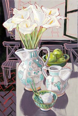 Calla Lilies and green Jugs, May 2001, 60x40 cm SOLD