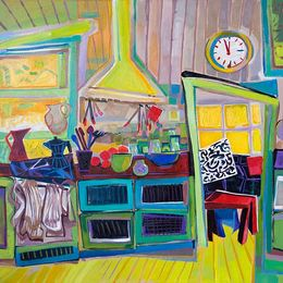 SOLD 2012, Cucina Caotica I,70x70 cm acrylic and oil oncanvas