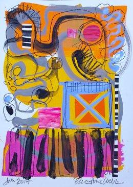 Christine Webb Beach Main Street Mixed Media on Paper 42x30cm e