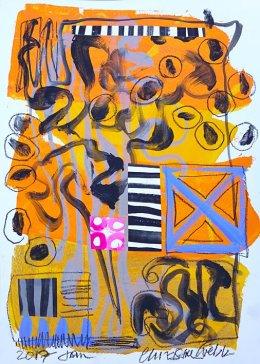 Christine Webb Beach Pebbles Mixed Media on Paper 42x30cm e