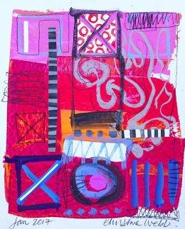 Christine Webb Beach Sunset Mixed Media on Paper 40x32cm e