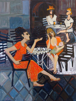 Christine Webb Ladies at the Bar II Acrylic on Canvas 80x60cm SOLD