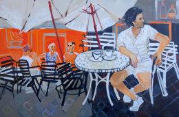 Christine Webb Men at the Bar Acrylic on Canvas 80x120cm