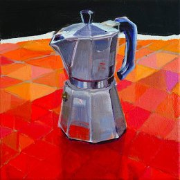 SOLD Christine Webb Patchwork Coffeepot Acrylic on Canvas 30.5x30.5cm SOLD