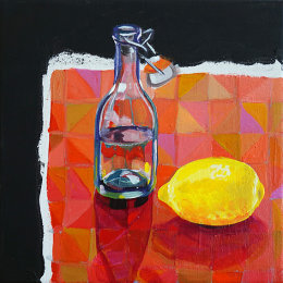 Christine Webb Patchwork Lemon Acrylic on Canvas 30.5x30.5cm SOLD