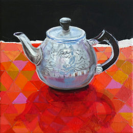 Christine Webb Patchwork Teapot Acrylic on Canvas 30.5x30.5cm SOLD