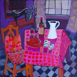 Christine Webb Table at Number 34 #4 Acrylic on Canvas 30.5x30.5cm e