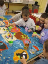 Painting our fish in the deep blue sea.