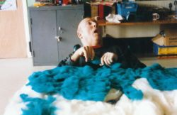 Putting down a layer of blue fleece for the sea.