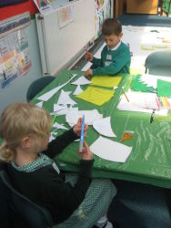 Using our card templates to mass produce the shapes we need.