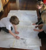 Planning the design for our felted mural.
