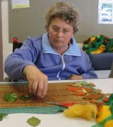 Making felted leaves to go on the big design.