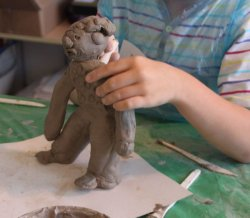 Clay sculpture - making people.