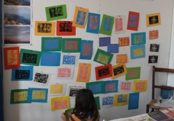 Lino prints drying.