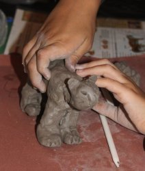 Clay animal modelling