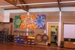 the mural in place in the school hall
