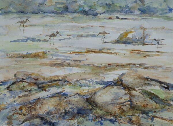Curlews at Low Tide